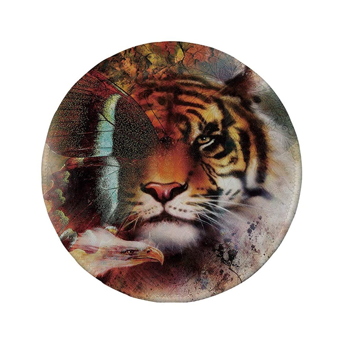 Non-Slip Rubber Round Mouse Pad,Tiger,Various Symbols of Nature Large Bengal Cat Bald Eagle Butterfly on Vibrant Backdrop Decorative,Multicolor,11.8