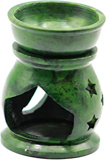 """3.5"""" Handcrafted Aroma Lamp Soapstone Flower Carved Essential Incense Oil Burner/Oil Diffuser for Fragrance and Aromatherapy- by Crystal Collection (Green)"""