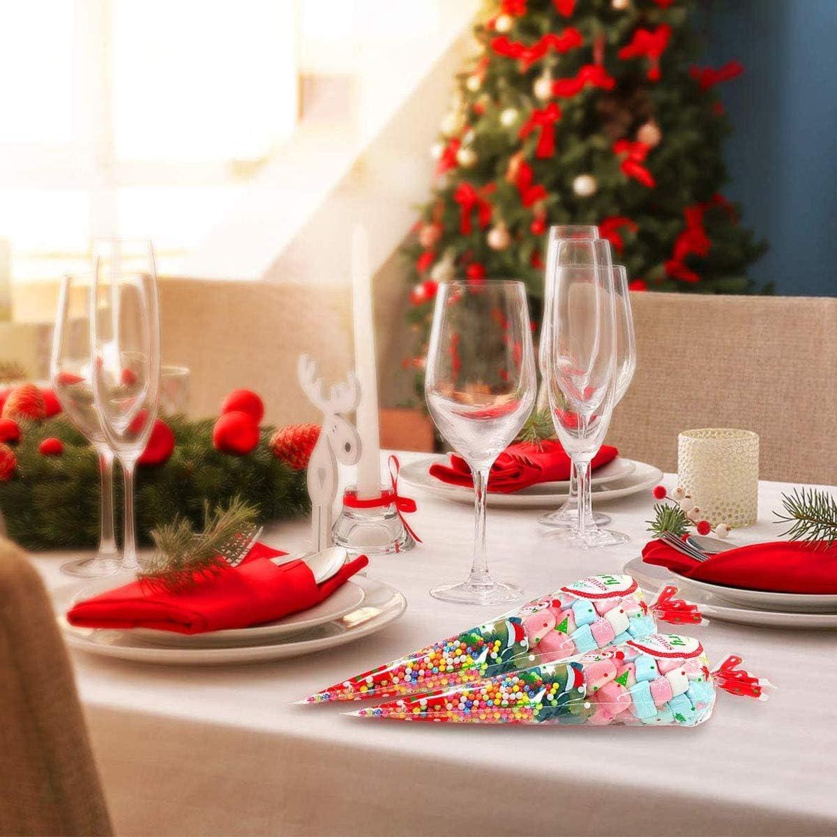 100 Piezas Bolsas de Cono,Bolsa de Dulce de Navidad Bolsas de Cono Transparentes con 100 Piezas Lazos Giratorios para Favores de Fiesta de Navidad B
