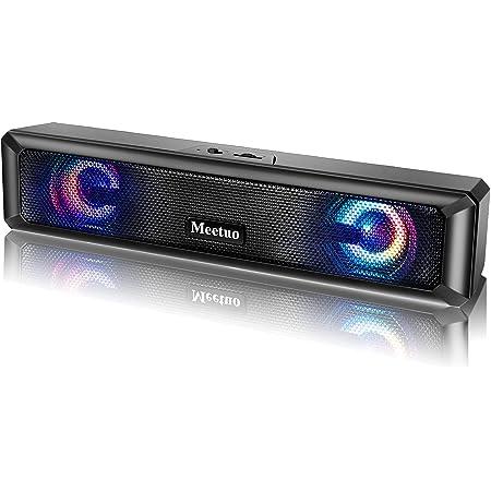 Meetuo PC スピーカー USB ステレオサウンドバー RGBライト USB接続 高音質 大音量 パソコン/ラップトップ/デスクトップ用
