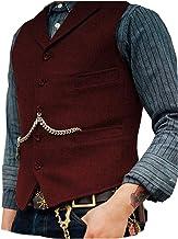 Solove-Suit Men`s Classic Henringbone Pattern Suit Vest Notch Lapel Slim Fit Waistcoat