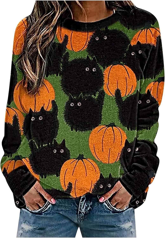 Women Halloween Long Sleeve Pullovers Round Neck Funny Pumpkin Print Lightweight Sweatshirts Relax Oversized Tops