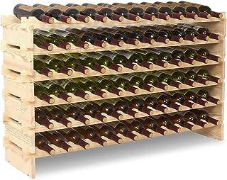 HUIYUAN Casier À Vin en Bois Massif Présentoir Maison Cuisine Bar Restaurant (6 Étages, Capacité De 72 Bouteilles)