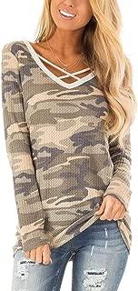 Womens Camo Shirt Long Sleeve V Neck Criss Cross T Shirts Waffle Knit Casual Tops