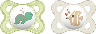 MAM Original Silikon Schnuller im 2er-Set, zahnfreundlicher Schnuller, Baby Schnuller aus speziellem MAM SkinSoft Silikon mit Schnullerbox, 0-6 Monate, Schildkröte/Fisch