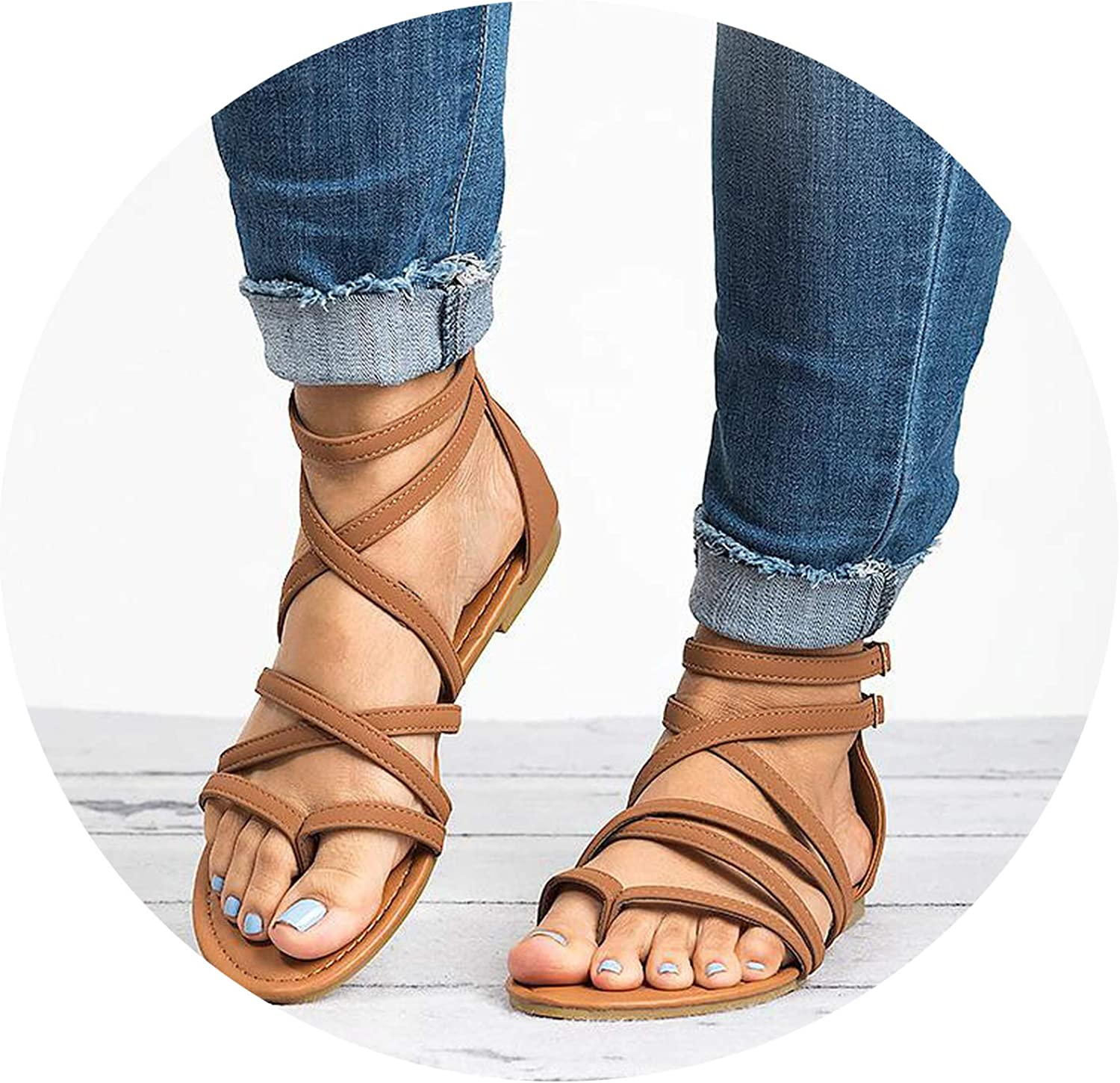 Sensitives Summer Women Gladiator Sandals Cross Tied Cover Heel Zip Female Buckle Flat Fashion Casual Beach shoes