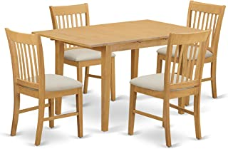East West Furniture 5-Piece Dinette Table Set, Oak Finish
