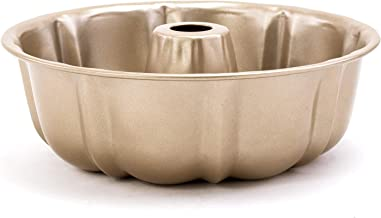 Royalford Bundt Form Pan (Size 25.5 x 8 cm, 0.7 mm), Premium Gold Colour Non-Stick Round Cake Tins, Durable Cake Trays for...