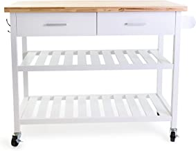 Kitchen Rolling Trolley Top Island Cart Utility Mulitpurpose Storage with Open Shelves - White