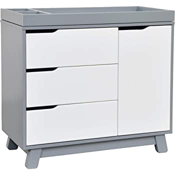 Babyletto Hudson 3-Drawer Changer Dresser with Removable Changing Tray in Grey / White