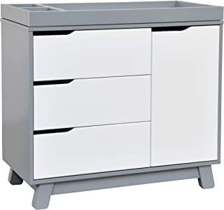 Babyletto Hudson 3-Drawer Changer Dresser with Removable Changing Tray, Grey / White