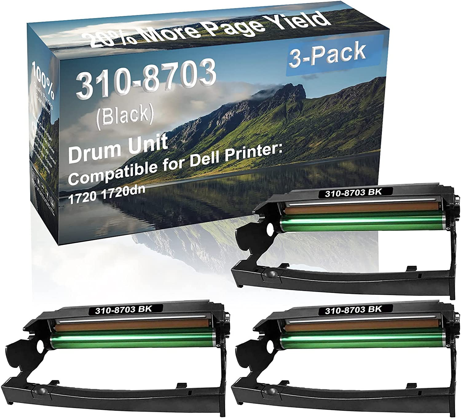 3-Pack Compatible Drum Unit (Black) Replacement for Dell 310-8703 Drum Kit use for Dell 1720 1720dn Printer