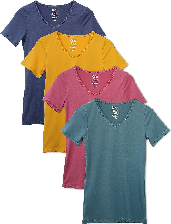 Kalon Women's 4-Pack V-Neck T-Shirt Base Layer