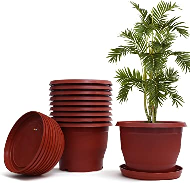 Livzing Plastic Flower Pot with Bottom Tray, Brown, 12 inch, Pack of 10