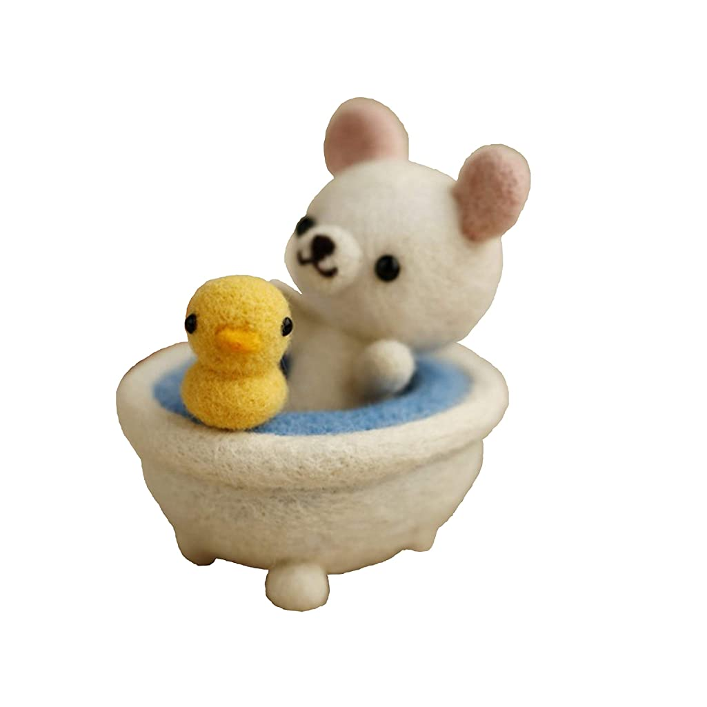 Cool Beans Boutique Wool Felting DIY Kit with Tools – Bath Bear with Yellow Ducky in a Tub (with English Instructions) – Great Starter kit WFKit-ZZ-BathBear-2