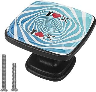 Paquet de 4 boutons d'armoire de cuisine, boutons pour tiroirs de commode Hockey sur le terrain d'amour Tire les poignées ...