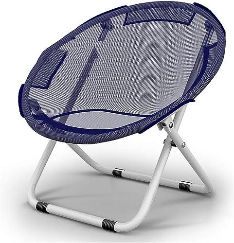 Chaise Pliante extérieure de Camping Chaise de Lune portative appropriée à la pêche Poids léger Pique-Nique Croquis Chaise Pliante portative (Bleu foncé) Peut Porter 100kg