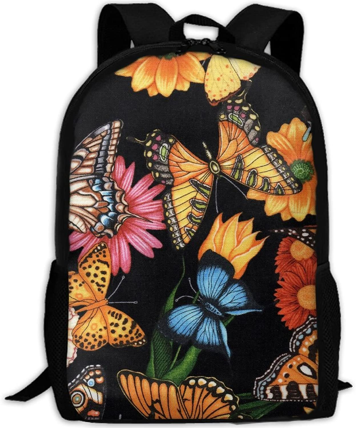 Butterfly And Flower Adult Backpack College Daypack Oxford Bag Unisex Business Travel Sports Bag