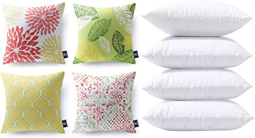 new arrival Phantoscope Bundles, Set of 4 New Living discount Series Yellow and Green Pillow Covers 18 x 18 inches & Set of 4 Pillow Inserts 18 x lowest 18 inches online
