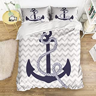 4 Piece Bedding Sets Nautical Navy Blue Anchor Grey and White Chevron Pattern Duvet Cover Set Reversible Comforter Set 1 Flat Sheet 1 Duvet Cover and 2 Pillow Cases by YEHO Art Gallery (Queen Size)