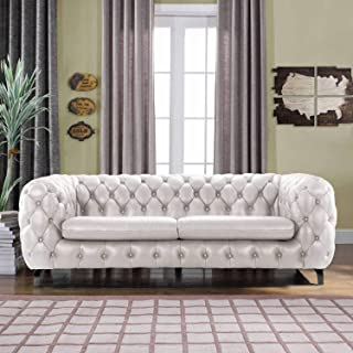 White Leather Chesterfield Sofa Couch w/Tufted Arms Modern Tufted Wide Top Grain Leather Chesterfield Couch Sofa Chesterfield Lounger Home Furniture Sofas & Couches for Living/Theater Room Sofa, White
