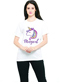 THE SV STYLE Unisex White T-Shirt with Print: Unicorn/Printed White T-Shirt/Graphic Printed T-Shirt/T-Shirt for Men & Women/Funny Quote T-Shirt/Unisex T-Shirt