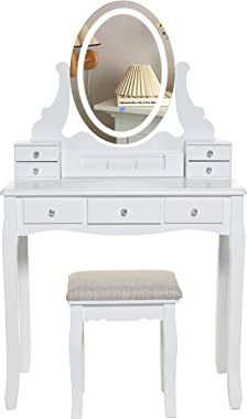 Iwell White Vanity Table Set with 3 Colors Lighted Mirror, Makeup Vanity Dressing Table with 7 Drawers & Padded Cushioned