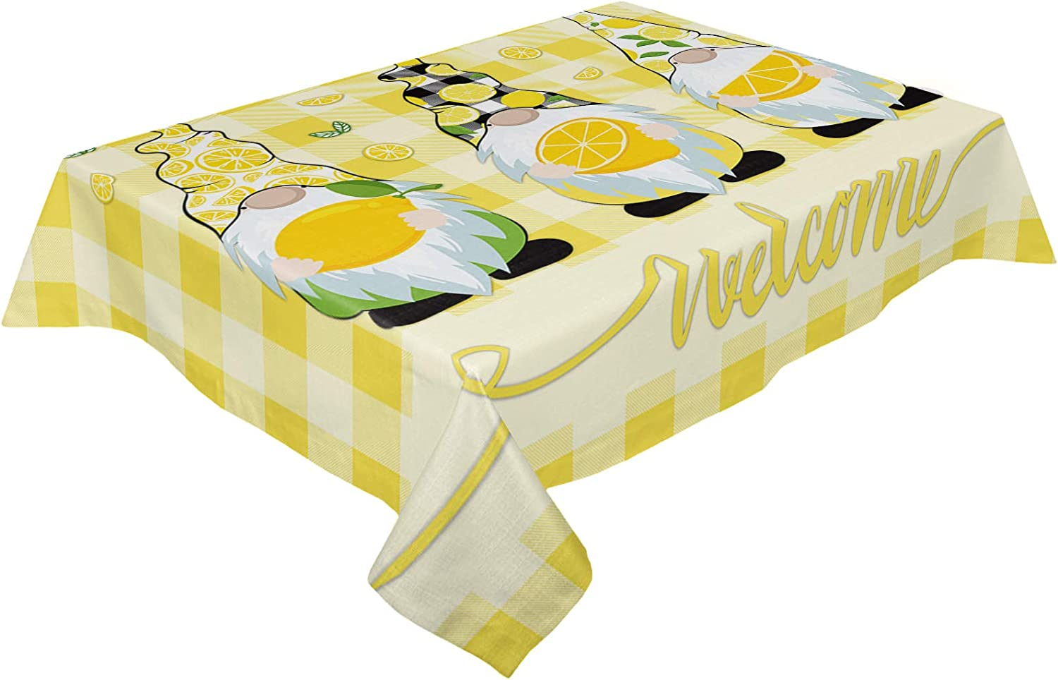 Fashion Table Clothes for Portland Mall Rectangle Tables Lemon 60x162in Gnome Welcome