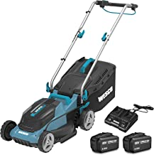 Cordless Lawnmower 36V, WESCO Battery-Powered Mower with 2Pcs 4.0Ah Li-Ion Battery, 34cm Cutting Width up to 290m², 6-Stag...