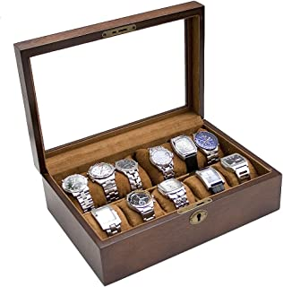 Caddy Bay Collection Vintage Wood Watch Display Storage Case Chest with Glass Top Holds 10+ Watches with Adjustable Soft Pillows and High Clearance for Larger Watches