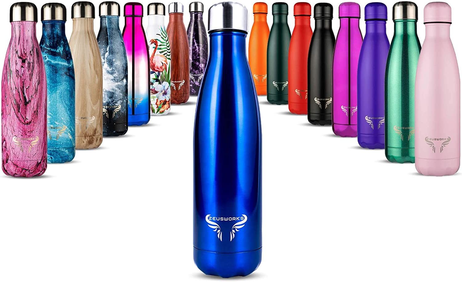 No Sweating Insulated Bottle Gym Hot for 12 Hrs Double Walled Reusable 500ml Bottles Leakproof Metal Water Bottle for Kids Travel Sports Keeps Cold for 24+ Hrs Zeusworks Stainless Steel Water Bottle BPA Free Vacuum Flask