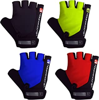 VeloChampion Summer Cycling Race Gloves - Fingerless Mitts with Pro Palm (Black/Blue, Medium)