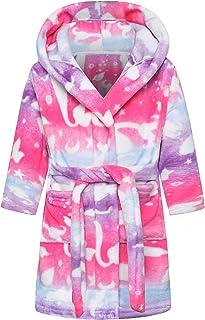 SHUCHENG Girls' Cute Soft Hooded Fleece Bathrobe Robe