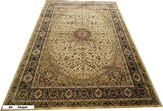 Ali Carpet Silk Traditional Kashmiri Silk Carpet for Living Room and Bedroom -Ivory Color (180X270Cm) 6 Feet by 9 Feet