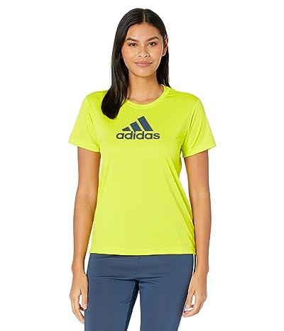 adidas Primeblue Designed 2 Move Logo Sport Tee (Acid Yellow/Crew Navy) Women