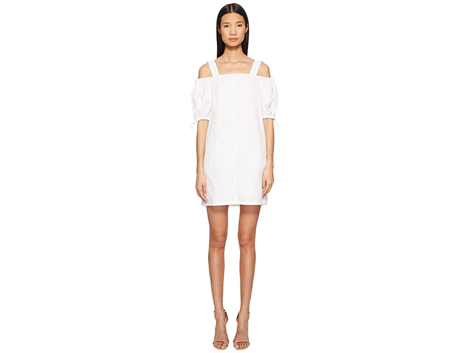 Sportmax Cina Cold Shoulder Puff Short Sleeve Dress (White) Women