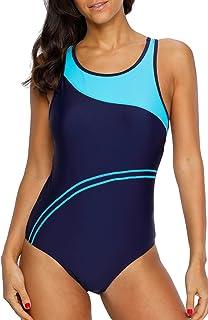 beautyin Women's One Piece Athletic Racerback Bathing Suit Color Block Swimsuit