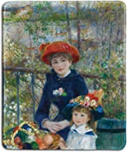 dealzEpic - Art Mousepad - Natural Rubber Mouse Pad with Famous Fine Art Painting of Two Sisters (On The Terrace) by Pierre-Auguste Renoir - Stitched Edges - 9.5x7.9 inches