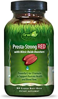 Irwin Naturals Prosta-Strong RED with Nitric Oxide Boosters - Prostate Health Support - Saw Palmetto, Lycopene, Pumpkin Seed & More - 80 Liquid Softgels