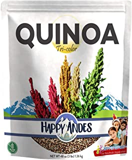 Happy Andes Tri-Color Quinoa 3 lbs - Non Gluten, Whole Grain Rice Substitute - Ready to Cook Food for Oats and Seeds Recip...