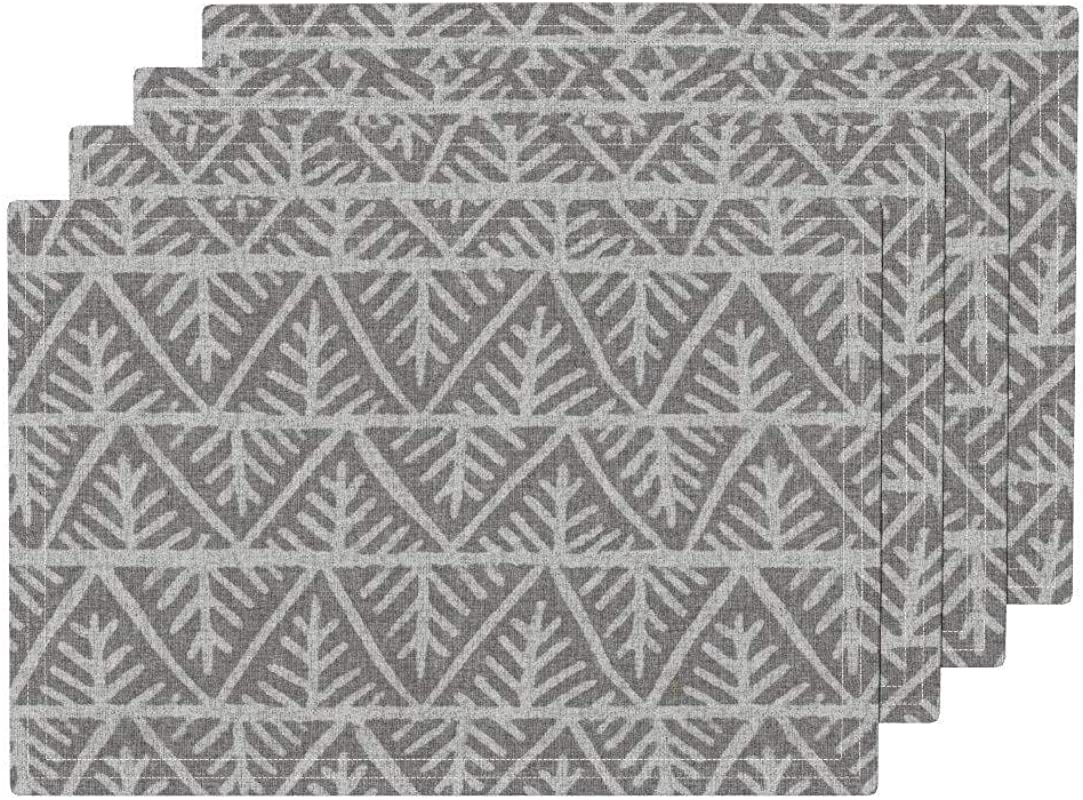 Promini Heat Resistant Placemats Textured Mudcloth In Gray Washable Polyester Table Mats Non Slip Washable Placemats For Kitchen Dining Room Set Of 4