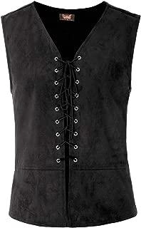 SCARLET DARKNESS Mens Gothic Steampunk Lace-up Vest Renaissance Waistcoat