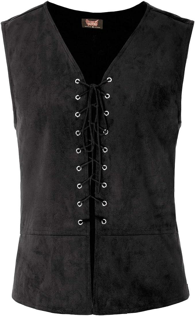 Men's Steampunk Vests, Waistcoats, Corsets Scarlet Darkness Mens Renaissance Steampunk Lace-up Vest Gothic Waistcoat  AT vintagedancer.com