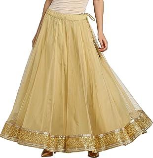 SRISHTI By FBB Women's Rayon Skirt Bottom (1001855041_Gold_Small)