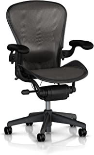 Herman Miller Classic Aeron Task Chair: Tilt Limiter w/Seat Angle Adj - Lumbar Pad - Fully Adj Vinyl Arms - Standard Carpet Casters - Graphite Frame/Carbon Pellicle -Size B (Renewed)