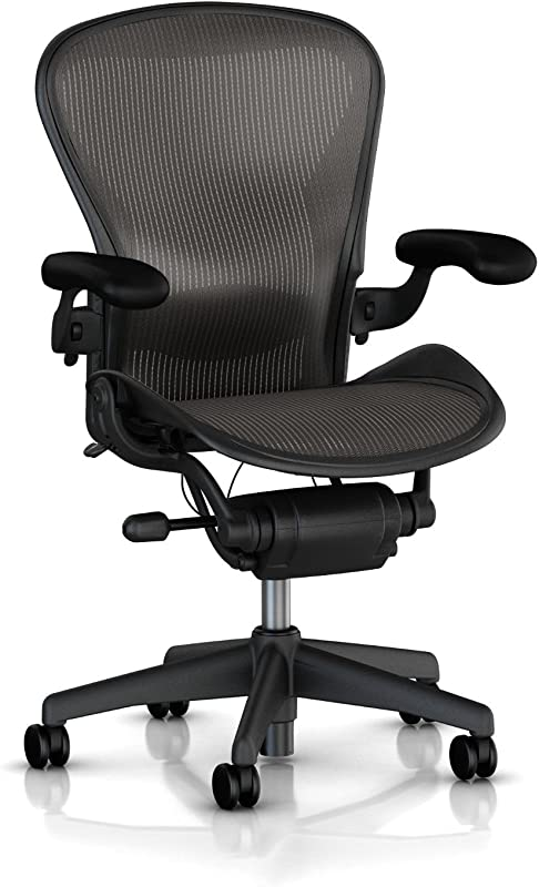 Herman Miller Classic Aeron Task Chair Tilt Limiter W Seat Angle Adj Lumbar Pad Fully Adj Vinyl Arms Standard Carpet Casters Graphite Frame Carbon Pellicle Size B Renewed
