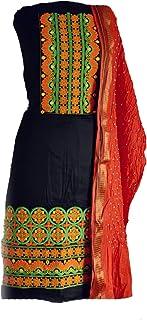 KATHIWALAS Women's Cotton Silk Kutch Work Bandhani/Bandhej Unstitched Dress Material Suit (BLACK ORANGE, Free Size)