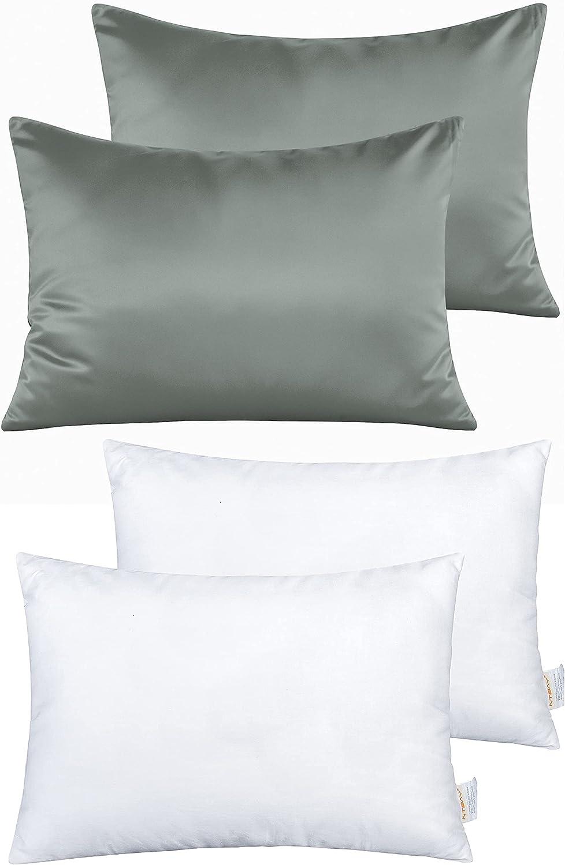 NTBAY Toddler Ranking TOP6 Dark Grey Satin Pillowcases and 18 x Mail order cheap Pillows 13 I