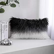 Phantoscope Luxury Series Throw Pillow Covers Faux Fur Mongolian Style Plush Cushion Case for Couch Bed and Chair, Black and White 12 x 20 inches 30 x 50 cm