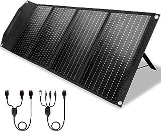 ROCKPALS ソーラーパネル 100W 並列接続可能 23%高変換効率 スタンド付き QC3.0 &Type-C急速充電 折りたたみ式 (100W-黒)